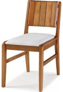 Cadeira Em Madeira Maciça Assento Estofado Angra Casa E Jardim Móveis Verniz Jatobá