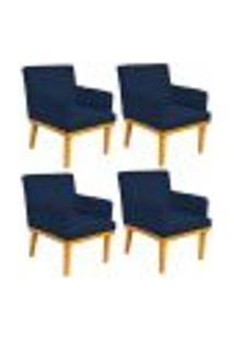 Kit 04 Poltronas Decorativa Para Sala De Estar Base Mel Beatriz W01 Suede Azul Marinho - Lyam Decor
