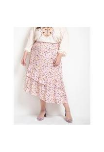 Saia Midi Estampa Floral Com Babados Curve & Plus Size | Ashua Curve E Plus Size | Multicores | Eg