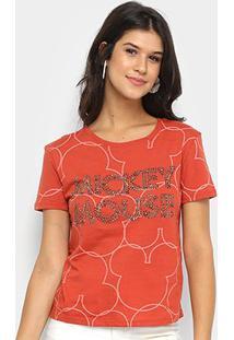 Blusa Disney Vintage Mickey Mouse Paetê Feminina - Feminino-Marrom