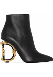 Dolce & Gabbana Ankle Boot Com Salto Baroque D&G - Preto