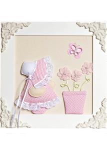 Quadro Decorativo Camponesa Vaso Quarto Bebê Infantil Menina Potinho De Mel Rosa