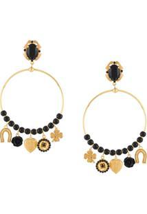 Dolce & Gabbana Par De Brincos De Argolas Com Pingente - Dourado