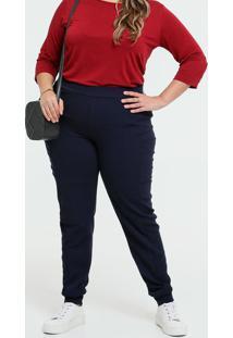 Calça Feminina Jogger Piquet Plus Size