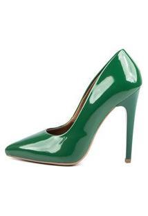 Scarpin Factor Fashion Salto Alto - Verde Bandeira