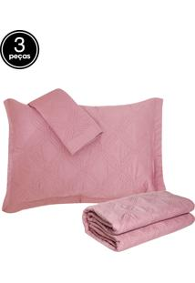Kit 3Pçs Colcha Queen Corttex Living Art Premium Galland 230 Fios Rosa