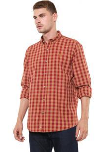 Camisa Timberland Reta Check Color Rubber Caramelo/Vermelha