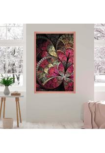 Quadro Love Decor Com Moldura Vitral Rosa Rose Metalizado Médio