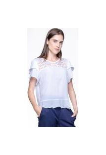 Blusa 101 Resort Wear Crepe Pala Renda Branca