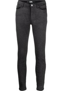 Karl Lagerfeld Calça Jeans Skinny Cintura Média - Preto