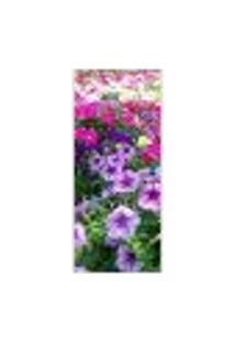 Adesivo Decorativo De Porta - Jardim De Flores - 018Pt-P Auto Colante