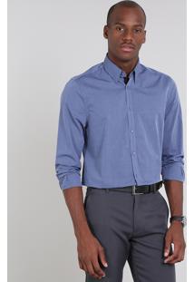 Camisa Masculina Comfort Maquinetada Estampada De Poá Manga Longa Azul