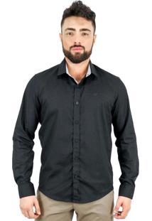 Camisa Norfolk Com Recortes & Bordado Preta