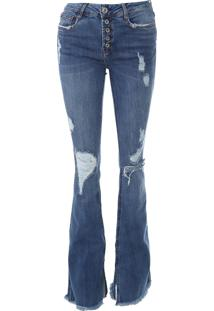 Calça Jeans Enna Flare Destroyed Azul