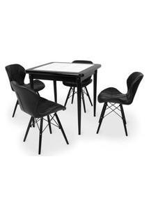 Conjunto Mesa De Jantar Em Madeira Preto Prime Com Azulejo + 4 Cadeiras Slim - Preto