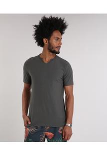 Camiseta Masculina Com Botões Manga Curta Gola V Chumbo
