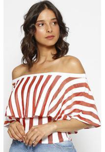 Blusa Ciganinha Listrada - Branca & Laranja - Zincozinco