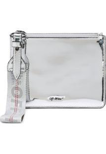 Off-White Clutch Espelhada Com Logo - Cinza