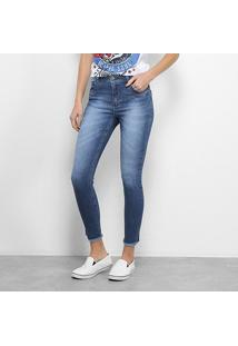 Calça Jeans Skinny Zune Estonada Feminina - Feminino-Azul