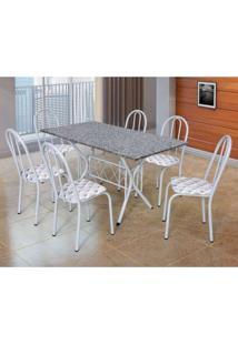 Conjunto De Mesa Com 6 Cadeiras Bruna Branco E Estampa Capitonê