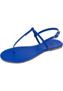 Sandália Rasteira Mercedita Shoes Napa Azul Bic Super Conforto