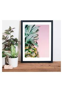 Quadro Decorativo Com Moldura Pineapple Pink Preto - 30X40Cm