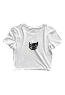 Blusa Blusinha Cropped Tshirt Camiseta Feminina Gatinho Follow Branco