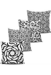 Kit 4 Capas Almofada Geometrica Floral Preto E Branco 45X45 - Tricae