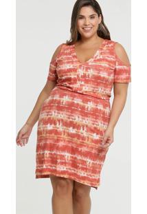 Vestido Feminino Open Shoulder Tie Dye Plus Size