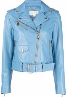 Michael Michael Kors Jaqueta Biker De Couro Com Cinto - Azul
