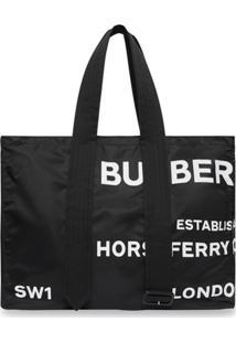 Burberry Bolsa Tote De Nylon Com Estampa Horseferry E Detalhe De Cinto - Preto