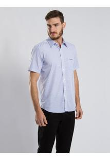 Camisa Slim Fit Quadriculada Azul