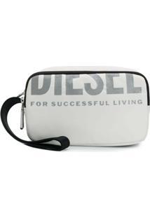 Diesel Necessaire Com Estampa De Logo - Branco