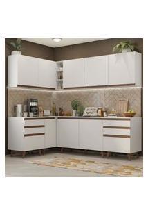 Cozinha Completa De Canto Madesa Reims 382002 Com Armário E Balcáo - Branco Branco