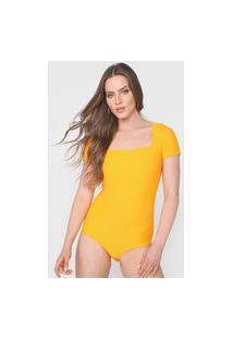 Body Lança Perfume Canelado Amarelo