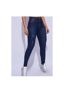 Calça Skinny Amarraçáo Na Cintura Feminina Vt890502