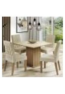 Conjunto Sala De Jantar Madesa Brenda Mesa Tampo De Vidro Com 4 Cadeiras