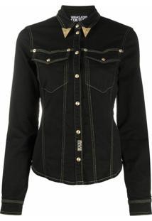 Versace Jeans Couture Jaqueta Jeans Com Colarinho - Preto