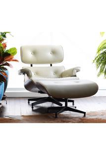 Poltrona E Puff Charles Eames - Madeira Imbuia Couro Envelhecido Ch02