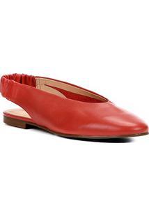 Sapatilha Couro Shoestock High Vamp Feminina - Feminino-Vermelho