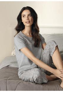 Pijama Feminino Em Malha De Algodão Com Calça E Detalhe Estampado