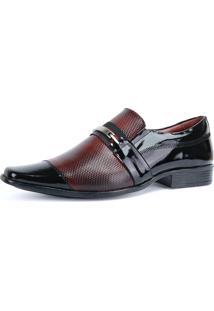 Sapato Social Em Couro Legítimo Verniz Sapatofran Texturizado Masculino Preto/Vinho