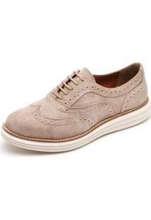 Sapato Oxford Q&A 300 Couro Camurça Areia - Kanui