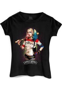 Camiseta Dc Comics Bandup! Esquadrão Suicida Harley Quinn Bubble Gum - Feminino-Preto