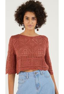 Blusa Cropped Em Tricã´ - Vermelho Claropop Up