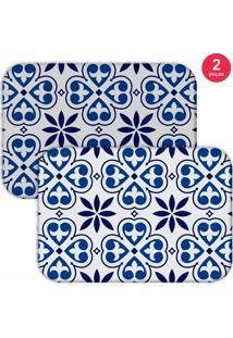 Jogo Americano Love Decor Premium Ladrilho Branco/Azul - Kanui