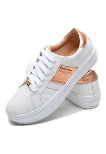 Sapatenis Feminino Calçados Gb Polo Urban Branco Com Rosê