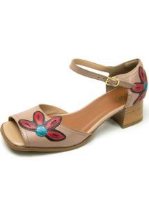 Sandália Retrô Peep Toe Touro Boots Feminina Bege Com Flor Vermelha - Kanui