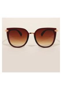 Óculos De Sol Feminino Redondo Yessica Vinho