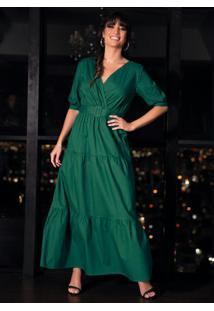 Vestido Midi Verde Em Camadas Com Cinto